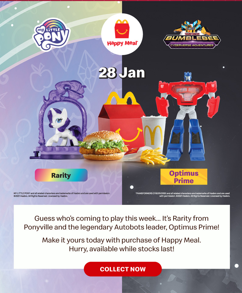 Guess who's coming to play this week… It's Rarity from Ponyville and the legendary Autobots leader, Optimus Prime!