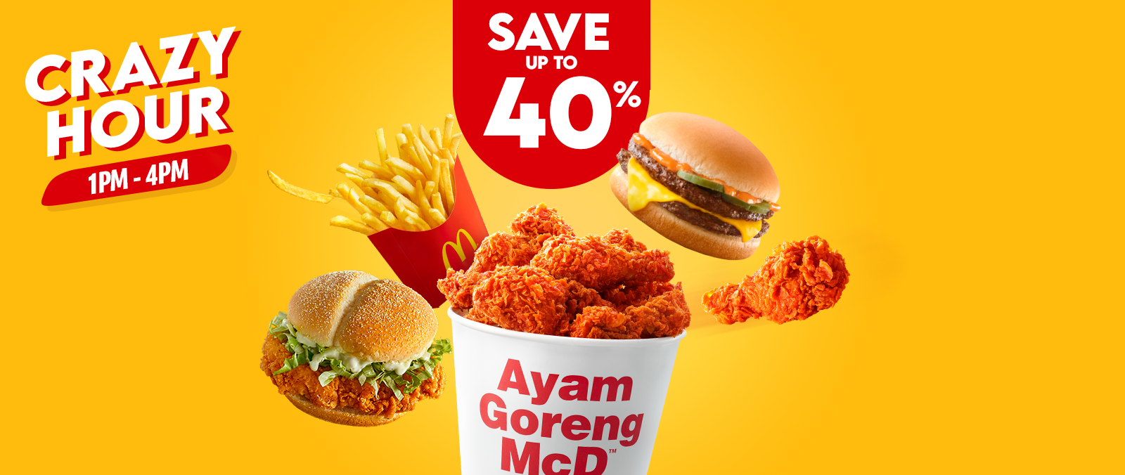Daily savings of up to 40% with McDelivery Crazy Hour!'s image'