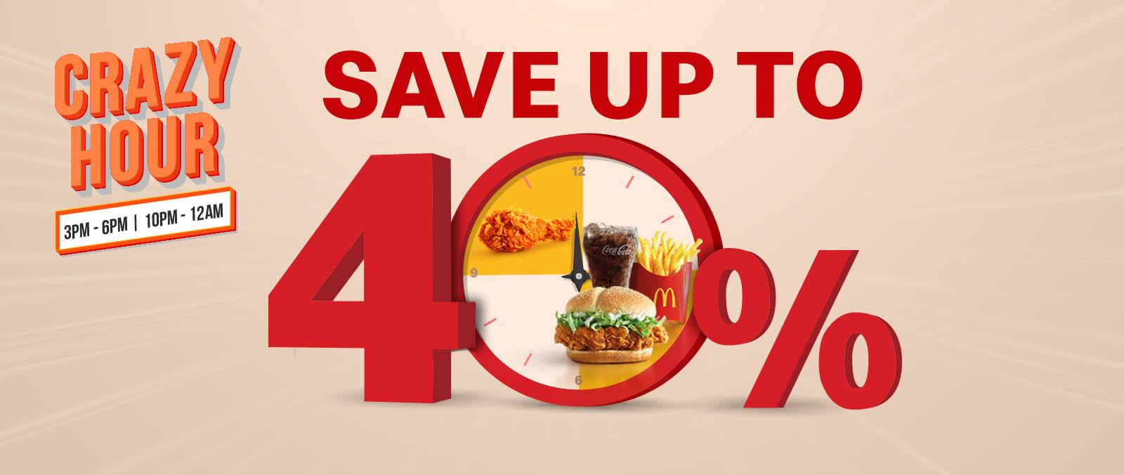Save up to 40% everyday  with McDelivery Crazy Hour!'s image'
